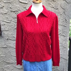St. John red wool cable sweater